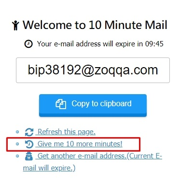 10minutemail page