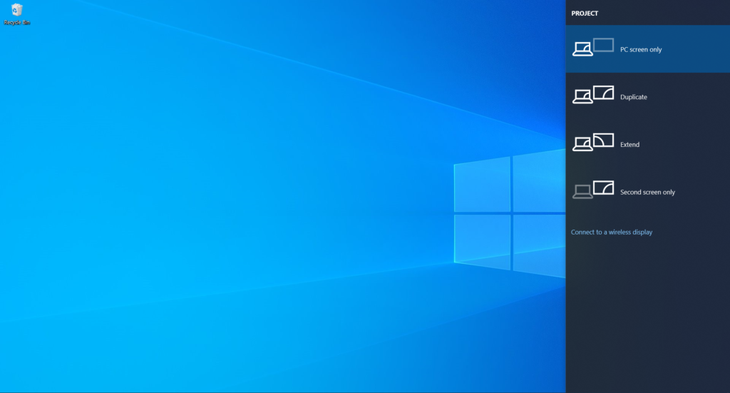 projection settings windows