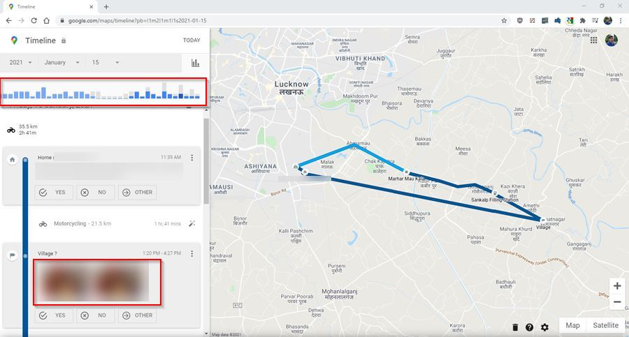 location history daywise