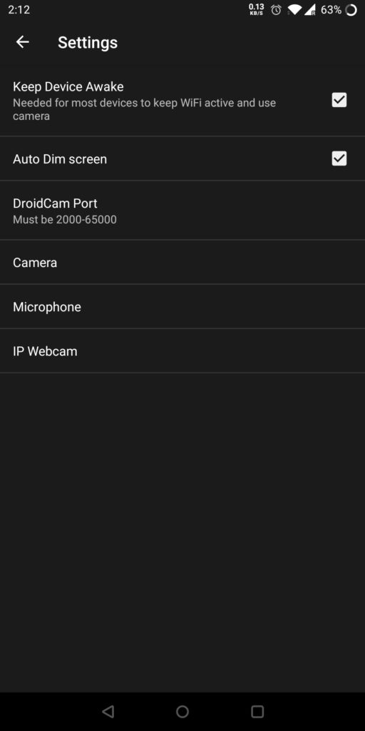 DroidCam Settings