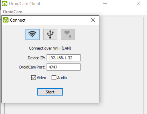 DroidCam connect to Android