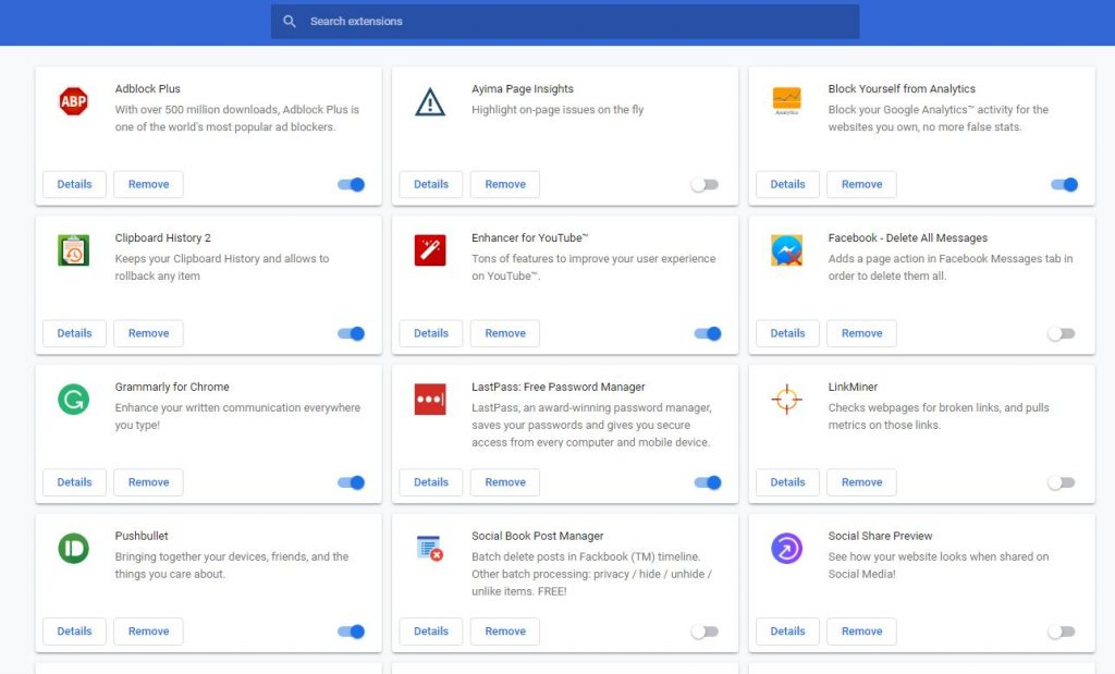Chrome extension manager