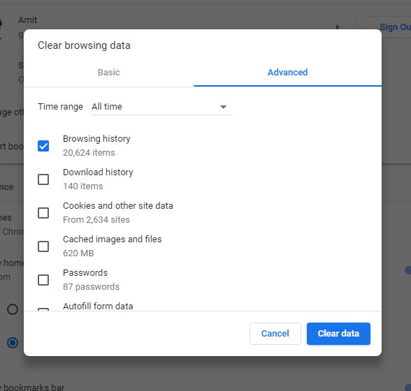 Delete your browser data selectively