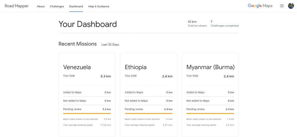 Google Road Mapper dashboard