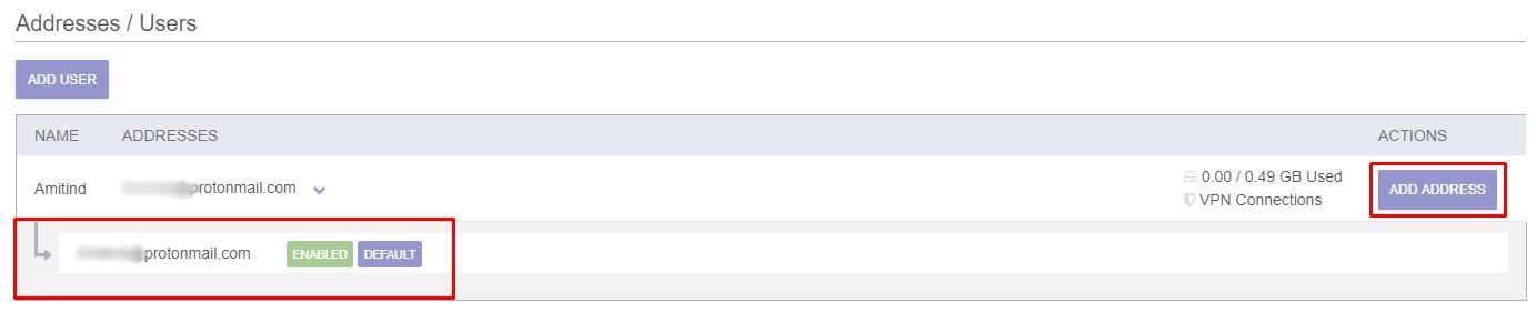 Proton mail add address