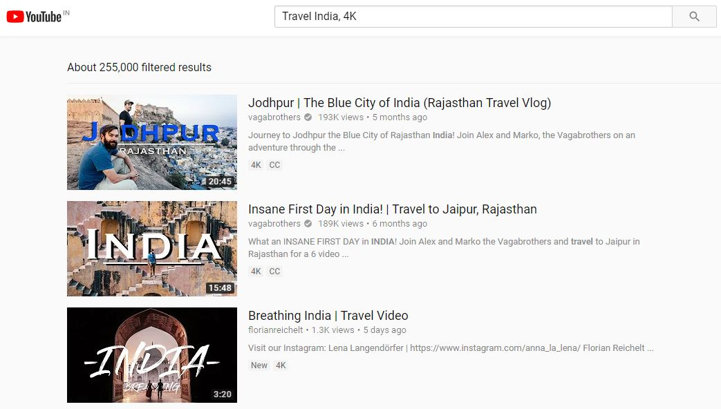 YouTube Search videos in 4K, HD Quality