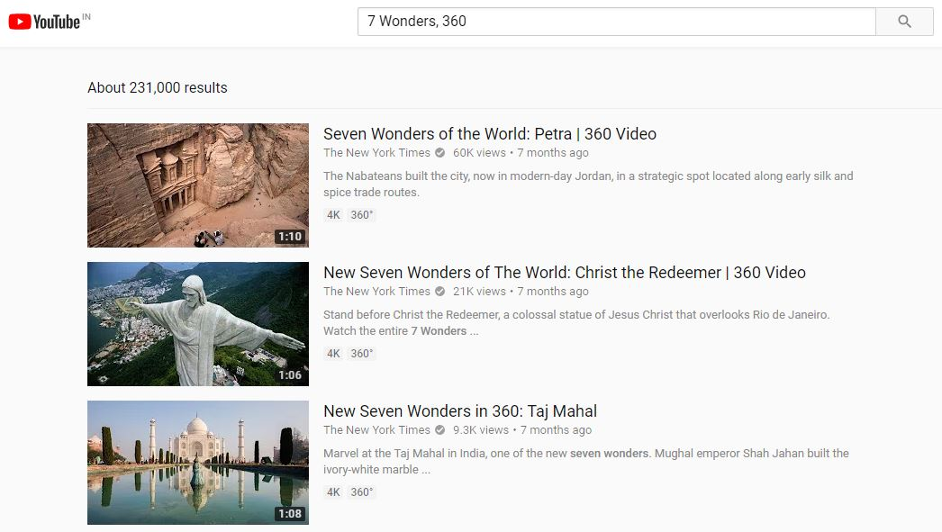 YouTube Search videos shot in 360-spherical