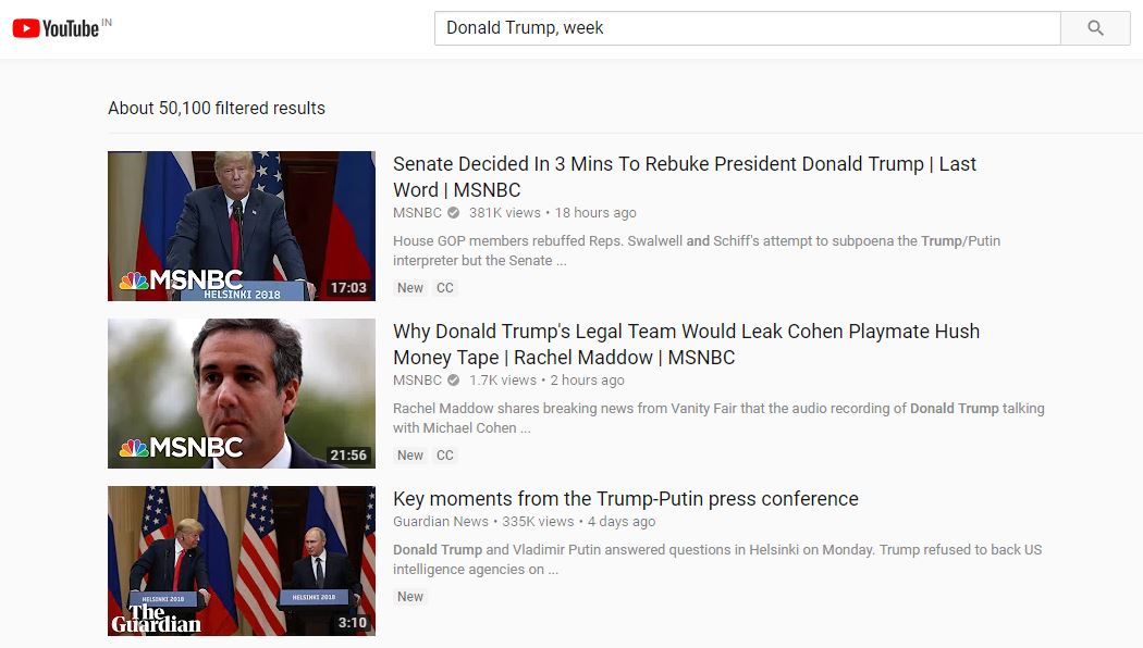 YouTube Search videos uploaded within week