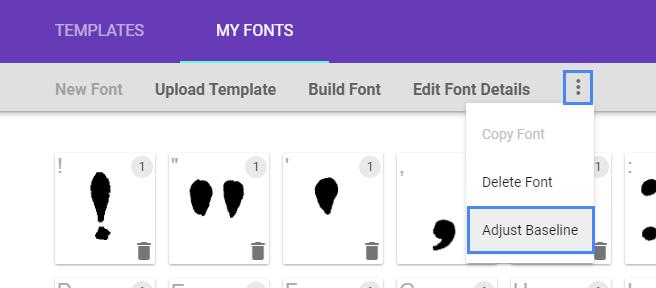 adjust baseline of font