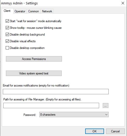 ammyy admin settings