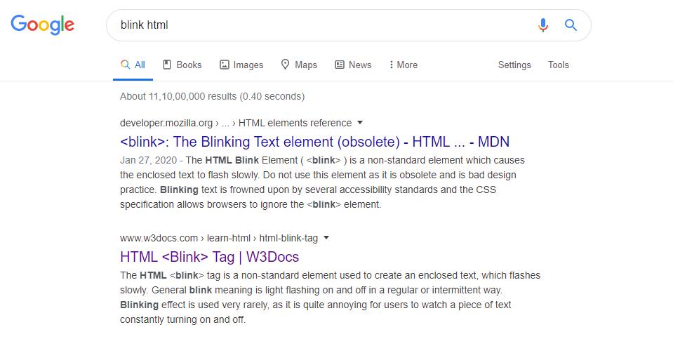 blink html google search