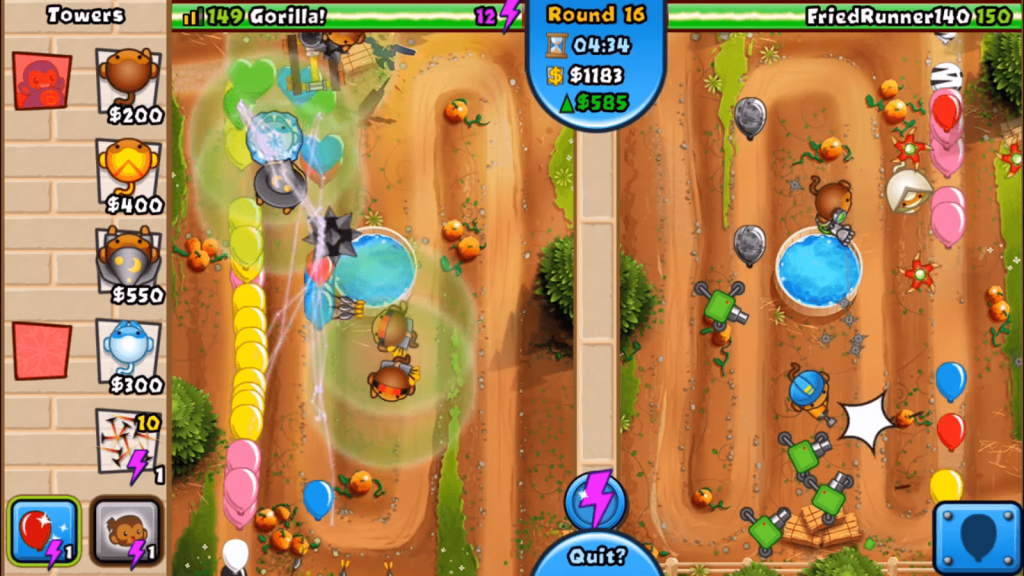 bloons td battles in game scene