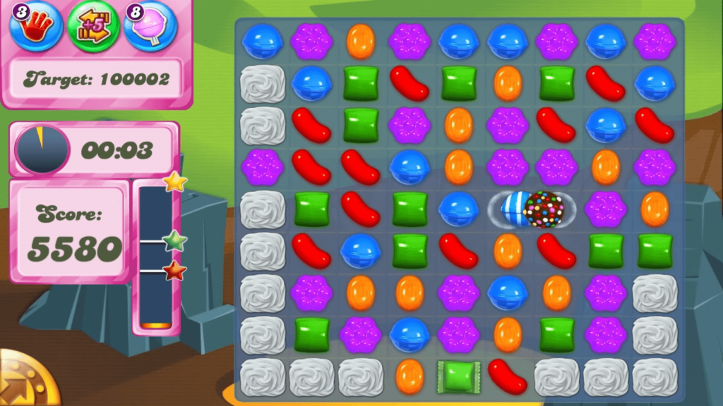 candy crush saga in game scene