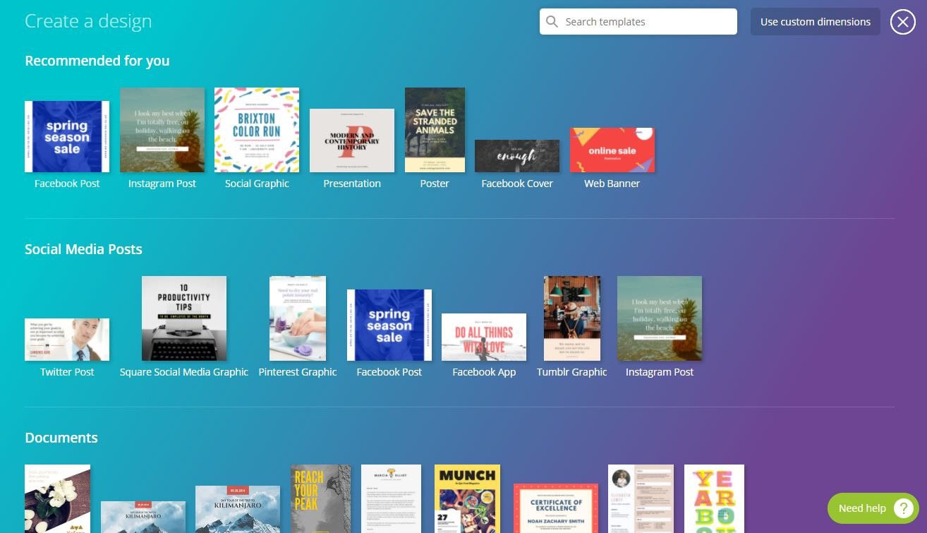 canva website interface