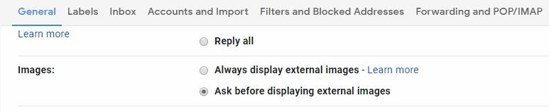 desable external images in inbox
