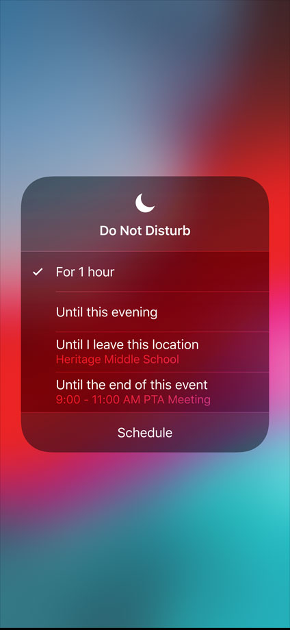 iOS do not disturb options