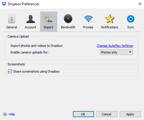 dropbox screenshot setting