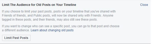 facebook settings limit past posts screen