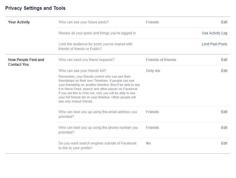 facebook settings privacy tab