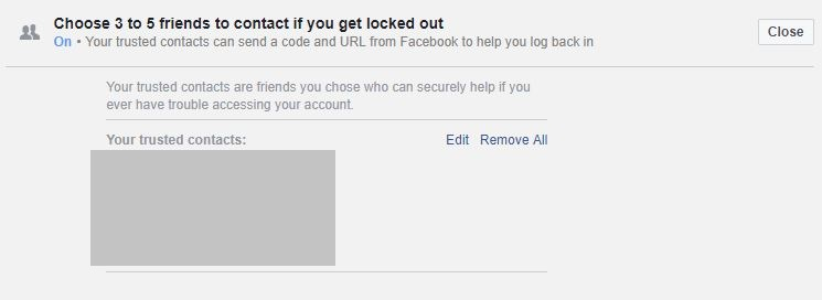 facebook settings trusted contacts