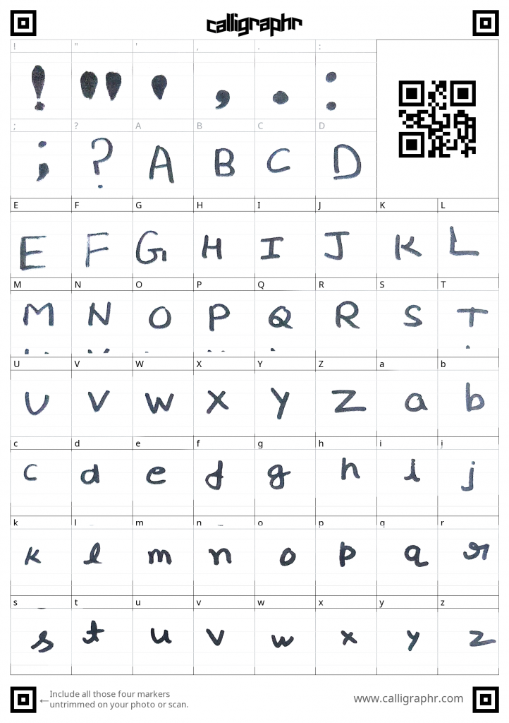 font template filled