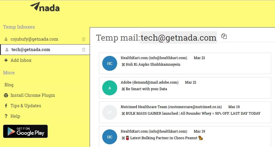 getnada shared mailbox
