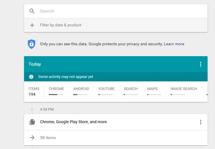 google activity interface