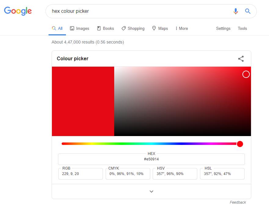 hex colour picker in google