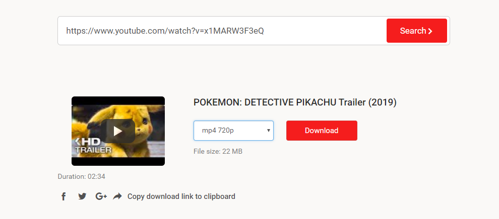 input url in search box to download youtube video