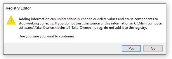 install take ownership