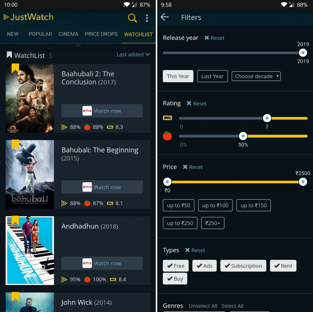 justwatch filter and watchlist