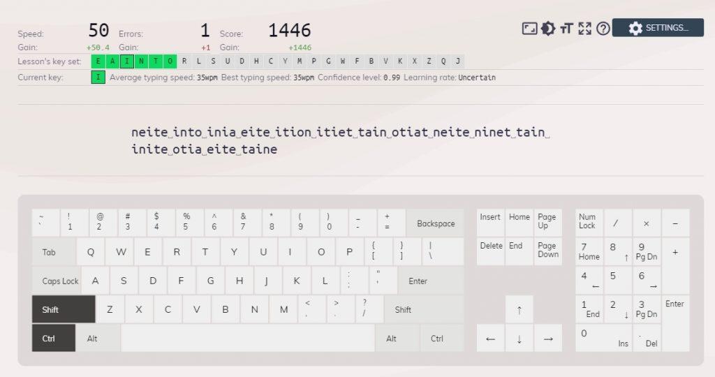 keybr typing learn