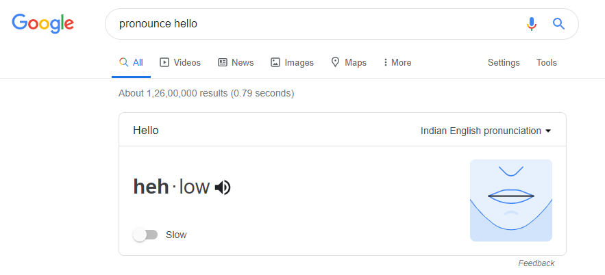 pronounce any word in google