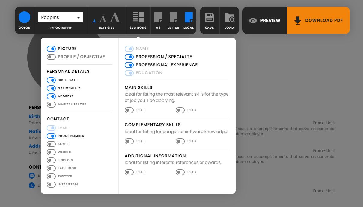 resume maker online editor