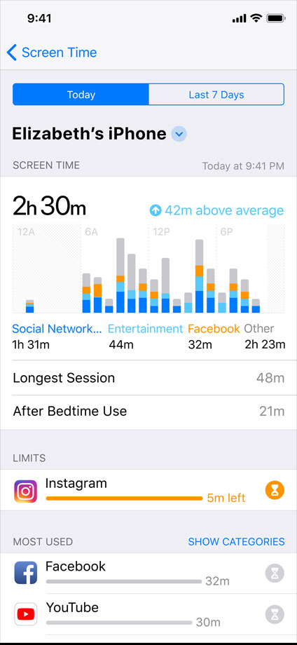iOS ScreenTime section