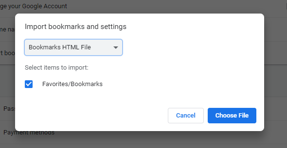 select bookmark file to import
