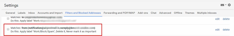 set filter to delete spam emails
