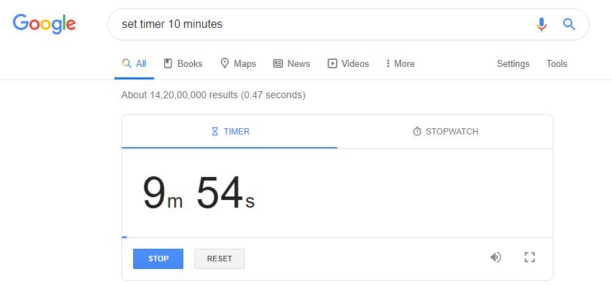 set timer for 10 minute