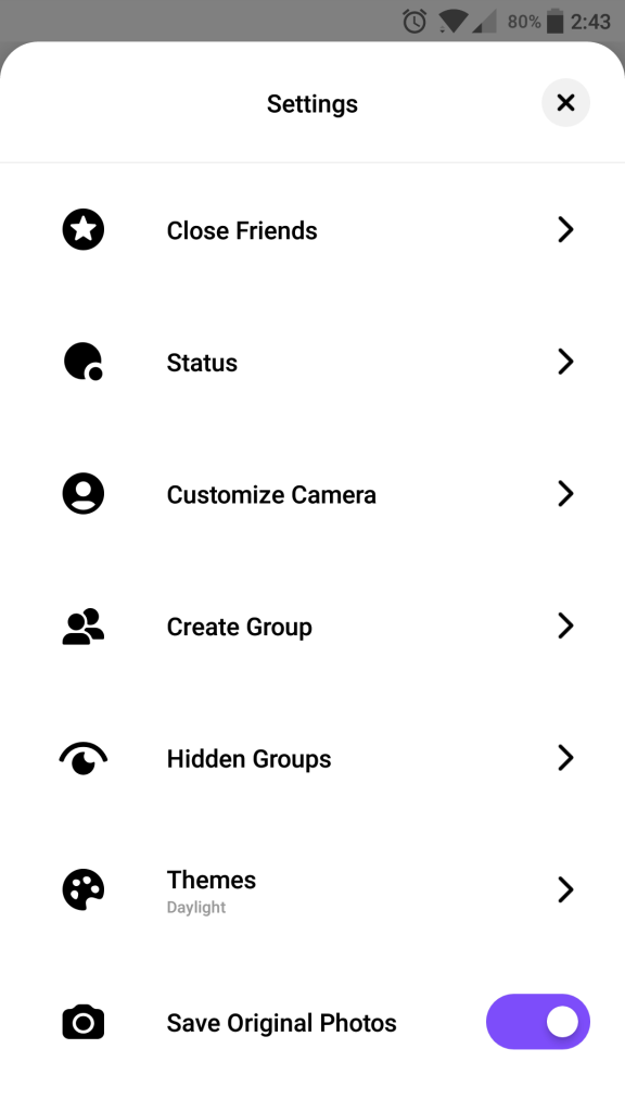 settings page of threads from instagram