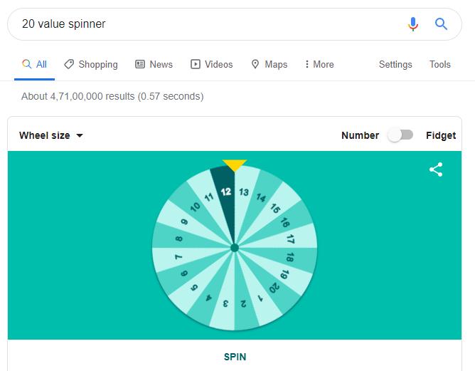 spin wheel on Google