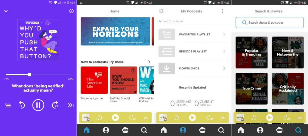 stitcher podcast app