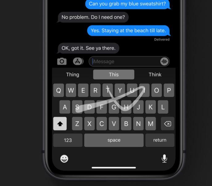 swipe typing in iphone