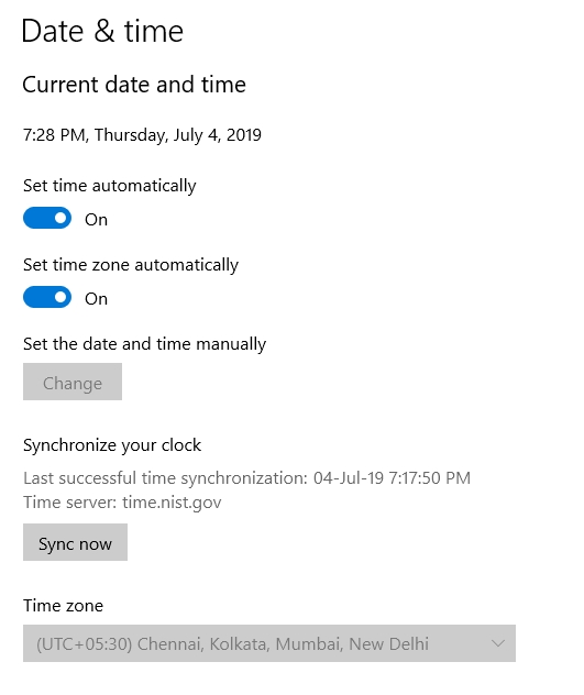 sync time in windows 10