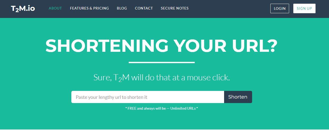 t2m.io URL shortener