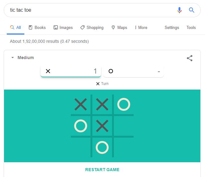tic tac toe on Google