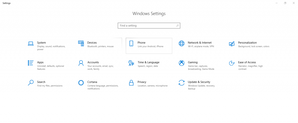 windows 10 settings page
