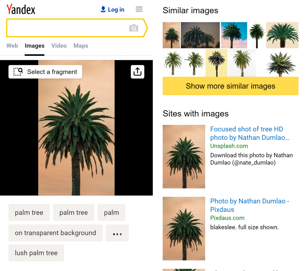 Yandex on mobile image search
