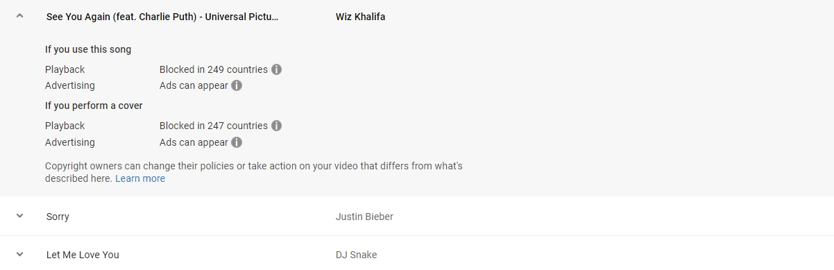 youtube music policies